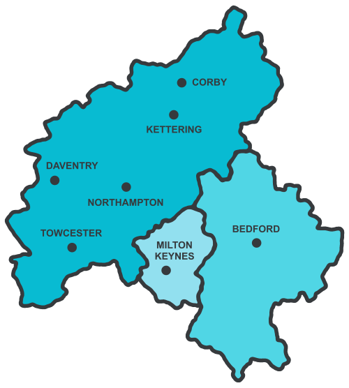 Northampton and surrounding areas map